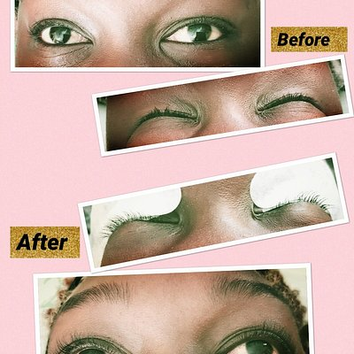 Lash lift/ wimper lift + tint. Low mantainance, your own natural lashes. Stays good for 6-8 weeks (before and after)
