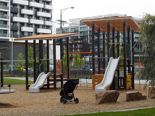 Playground with fence near Victoria Street