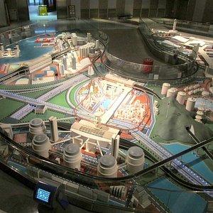 Diorama of a futuristic city.