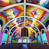The inside of the historic chapel was painted by world-renowned Spanish Artist Okuda San Miguel.