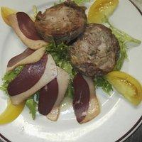 Salade magretet andouille poêlée
