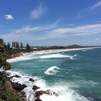 Looking down at Coolum from the lookout.