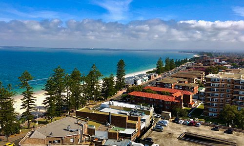 The view from the side balcony looking out across Botany Bay.