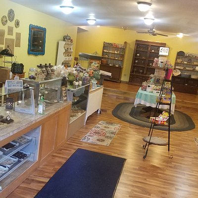 This is our lovely main room, where you will find our famous fudge and our newly introduced old fashioned or nostalgic candy.