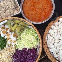 Nasi Kerabu Condiments and Laksam