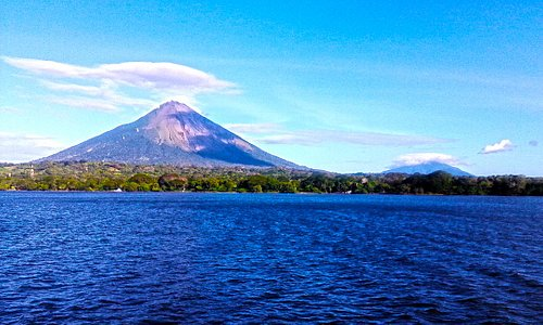 VIew of Ometepe Island from the ferry