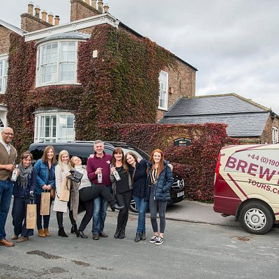 Brewtown Gin Tours outside Hooting owl Distillery