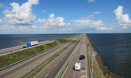 Looking east; Zeiderzee on left and Ijsselmeer Lake on right