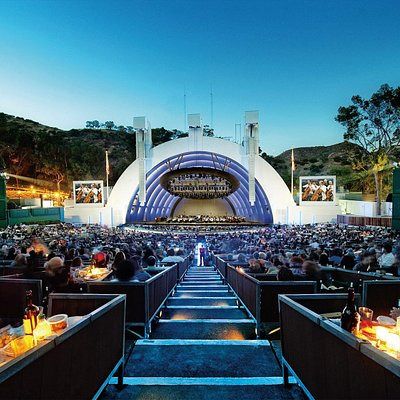 You'll find three types of seating available for the Hollywood Bowl. Box Seats are the best, with canvas chairs in small groups surrounded by partitions. SuperSeats, in the middle of the audience, are stadium-style plastic with cup holders. The Bench Seats are near the Terrace boxes toward the back of the Hollywood Bowl.