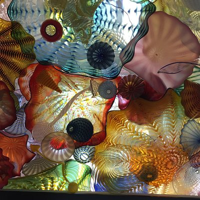 Small area of the overview of the Chihuly Bridge of Glass display. Love it when the sunlight plays through.