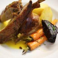 Anatra Arrosto all' Arance  Double roasted duck, orange & sage sauce.