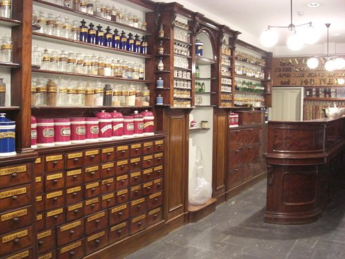 Part of the recreated Savory & Moore pharmacy