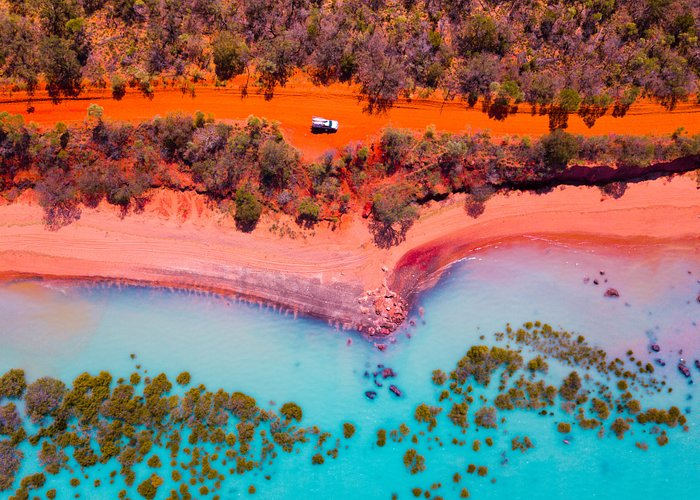 Discovering the wonderful colours of Broome. Mother Nature you have outdone yourself! Can you spot our car? This has to be one of our favorite lunch stops as we travel around Australia!  Broome, Western Australia. #theblondenomads #broome #familytravel #australia