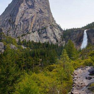 Liberty Cap and Nevada Fall, taken from Clark Point, Yosemite Park, California.