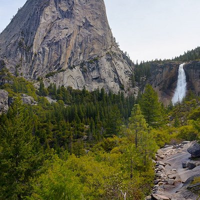 Liberty Cap and Nevada Fall, taken from Clark Point, Yosemite Park, California.