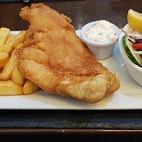 Battered haddock and chips -- the fish really was first-class.