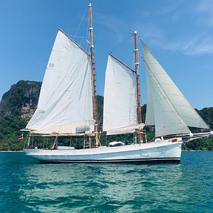 Vacation Village Yacht Charter Presents SY SERAPH  Experience the historic Schooner yacht built in 1906. Seraph is Thailand's very first charter yacht. Sail back into history on this fully renovated 70ft Danish classic vessel to explore the real pearl of Andaman.