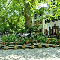 The beautiful yard of our restaurant In the central square of Portaria