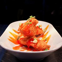 Panko Chicken with spring onion and sweet chilli Sauce.