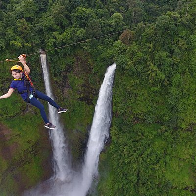 Flying over Tad Fane waterfall
