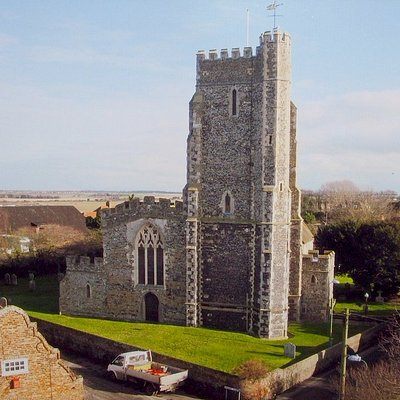 St Nicholas-at-Wade church seen from the southwest