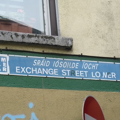 The street holding Isolde's Tower, boringly called Exchange Street in English but remembering Isolde in Irish