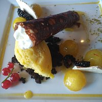 """chocolate 'Cannolo"""" with spume of Ricotta & pears-saffron-sorbet"""