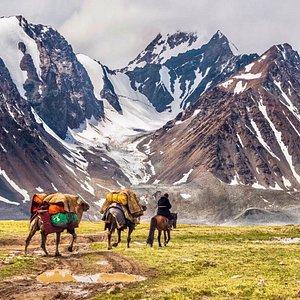 Hiking in wild western Mongolian mountains