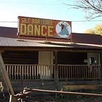 """The sign was donated to us by the old Silt Cafe owners. It now resides on the roof of our """"saloon/law office"""""""