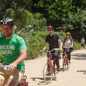 We stick to bike paths and bike lanes