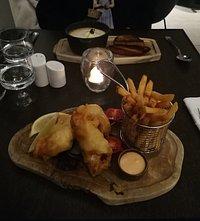 sopa e Fish and chips