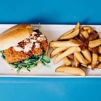 Salmon burger with homemade fries