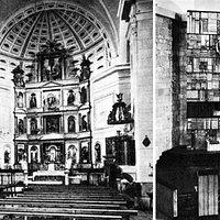 A la izquierda, estado antes de la adaptación litúrgica de 1965; a la derecha, el presbiterio después de la intervención del sacerdote y arquitecto Gerardo Cuadra en 1965.