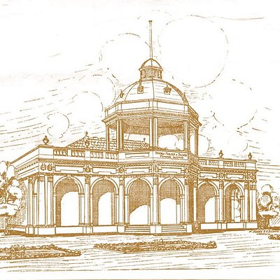 An artist sketch of the Soldiers Memorial Institute.