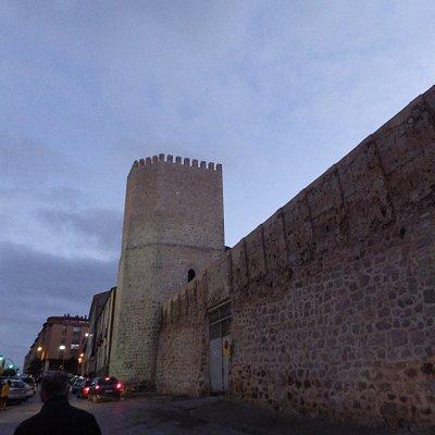 Trozo de muralla con torre cerca del acueducto