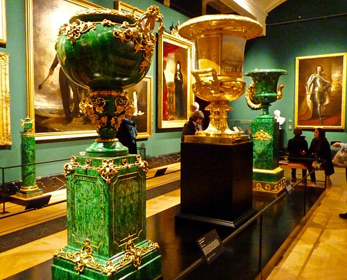 Huge ornate urns, made from Malachite and gilded gold