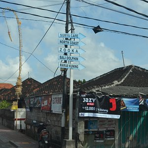 The sign board. Bali Dolphin is only one of them