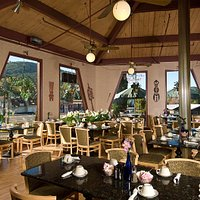 Garden Cafe at the Tiki Resort. Open seasonally for Breakfast from 7 AM to Noon.