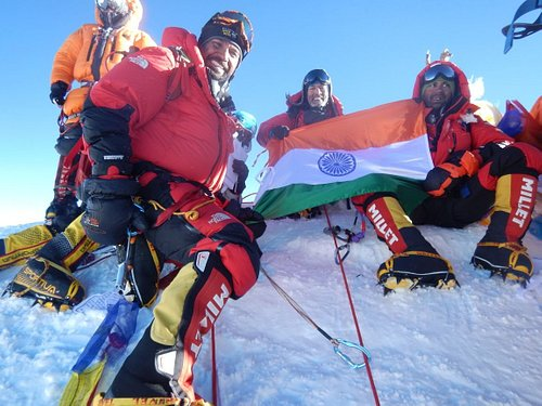 Indian National Flag on the Summit of highest mountain in the world - Mount Everest!