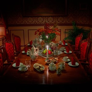 Tea and coffee will be served in our dining room. Before all the riddles needs to be solved