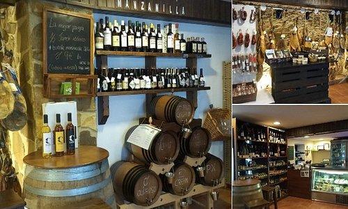 """Vinos a granel, jamones ibéricos y una gran selección de productos """"made in Cádiz""""."""
