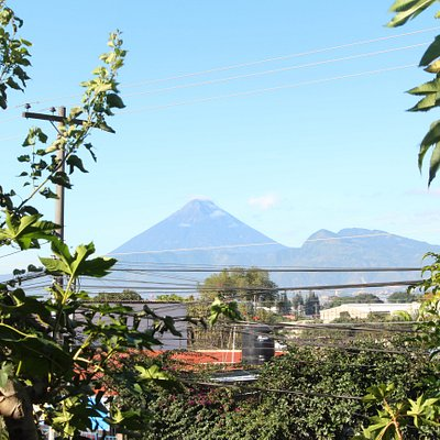View from our upstairs floor. Volcanoes Agua,Pacaya and Fuego