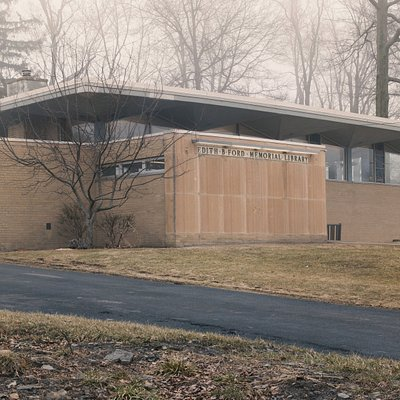 Exterior of the library on a foggy day.