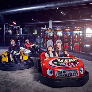 Go-kart track with single and double seaters
