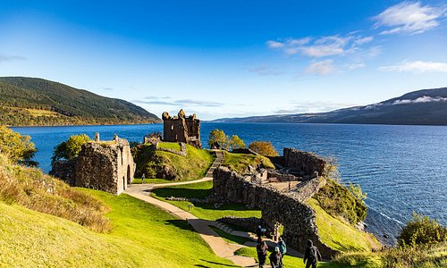 Beautiful view of Loch Ness from castle grounds