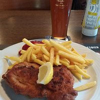 Typical Cordon Bleu with French Fries ...and beer!