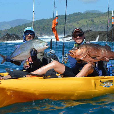Double trouble! Some of guests with a stunning Blue Trevally and Cubera Snapper caught in consecutive casts