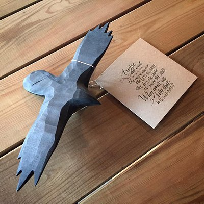 Raven. Birchwood colored and waxed. Letterpress card.
