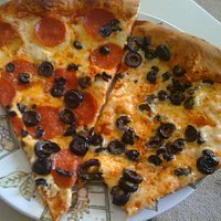 Our favorite: 20 inch pie with black olives and 1/2 pepperoni.