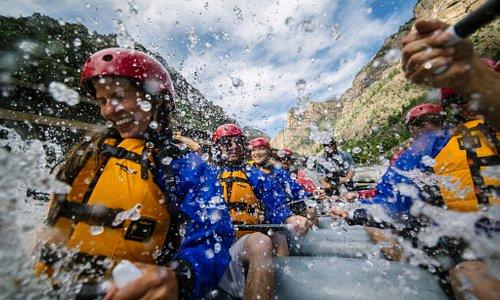 It's all smiles down Shoshone rapids.